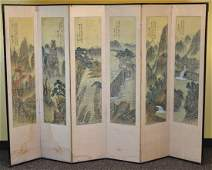 Chinese Six Panel Floor Screen