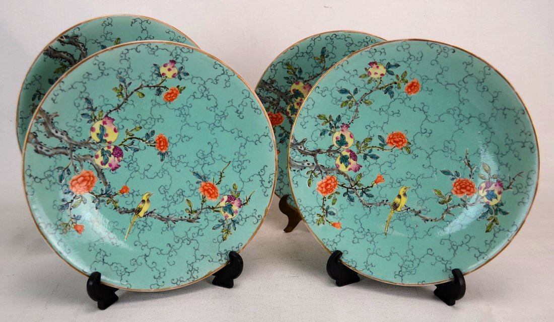4 Chinese famille rose plates
