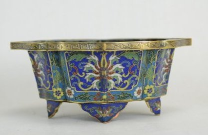 Enameled Bronze Cloisonne Four Footed Lotus Shaped Pot