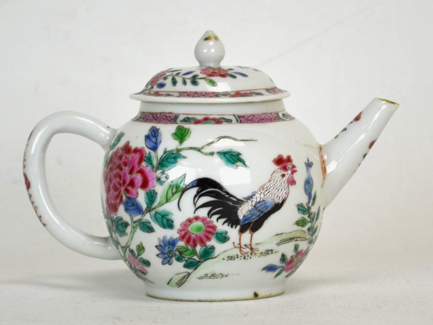 Chinese Famille Rose Porcelain Teapot w/ Roosters