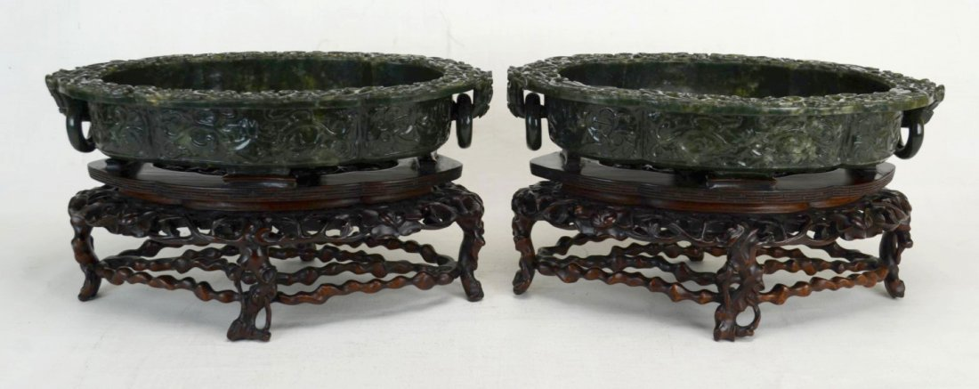 Pair of Chinese Carved Green Hetian Jade Bowls