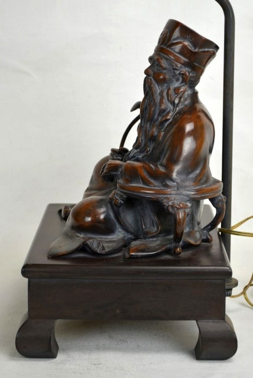 Frederick Cooper Chinese  Bronze Seated Fig Lamp - 4