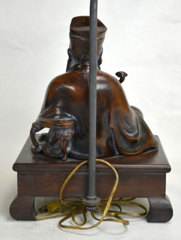 Frederick Cooper Chinese  Bronze Seated Fig Lamp - 5