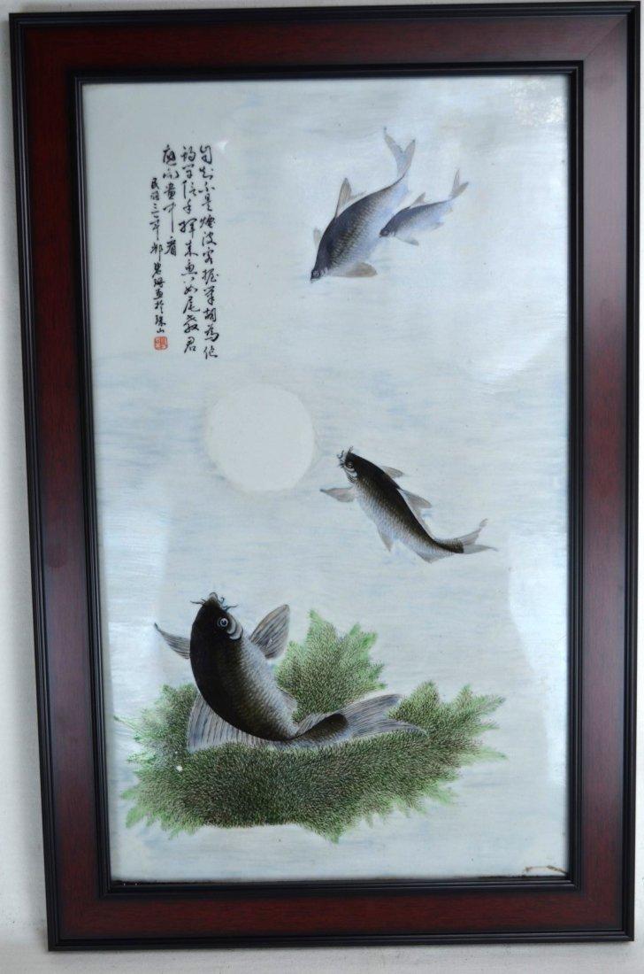 Signed Wood Framed Chinese Porcelain Plaque
