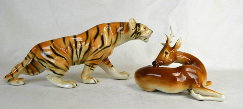 Two of  Royal Dux Porcelain Tiger and Deer