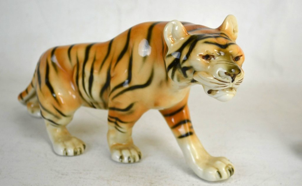 Two of  Royal Dux Porcelain Tiger and Deer - 2
