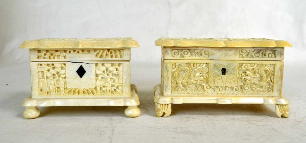 Two Carved  Bone  Boxes