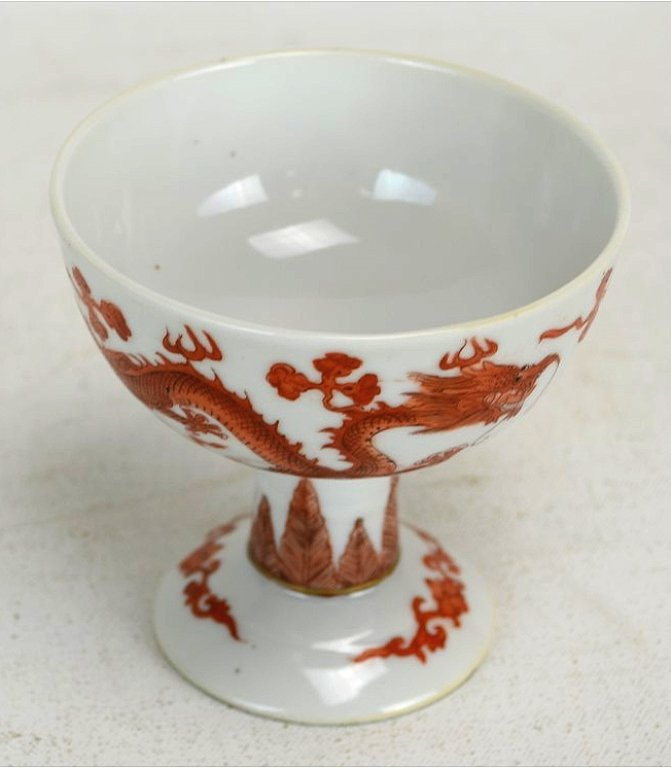 Chinese Copper Red Porcelain Footed Cup