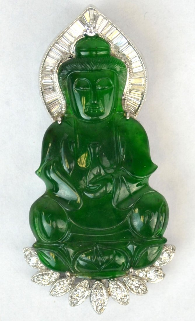 Natural Carved Chinese Green Jadeite & Diamond Pendant