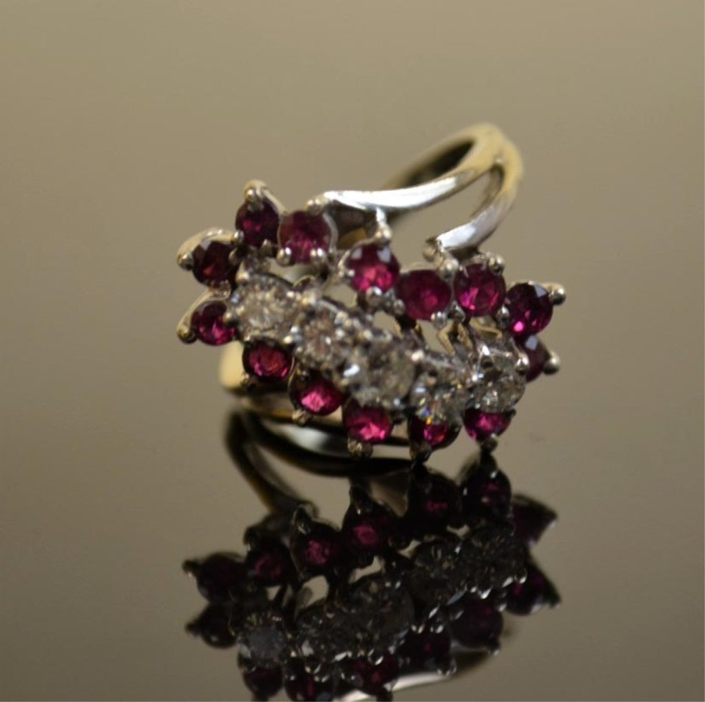 14K White Gold  Ring with Diamonds & Rubies