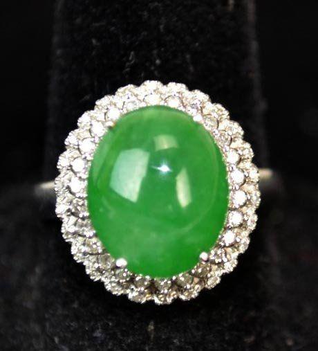 18K White Gold Chinese Natural Jadeite Ring w Diamonds