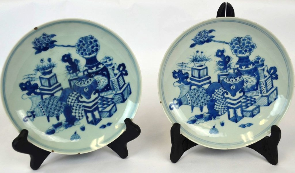 Pair Qing Chinese Blue & White Porcelain Plates