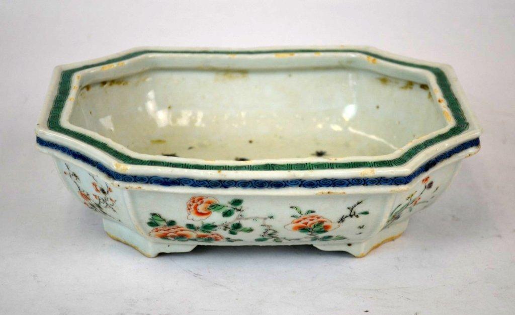 Chinese Famille Verte Porcelain Planter
