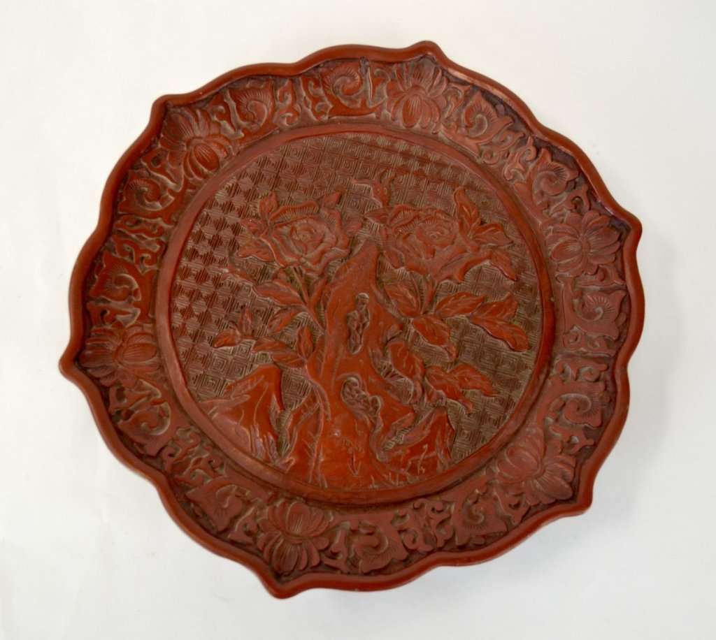 Sotheby's Chinese Carved Red Cinnabar Plate