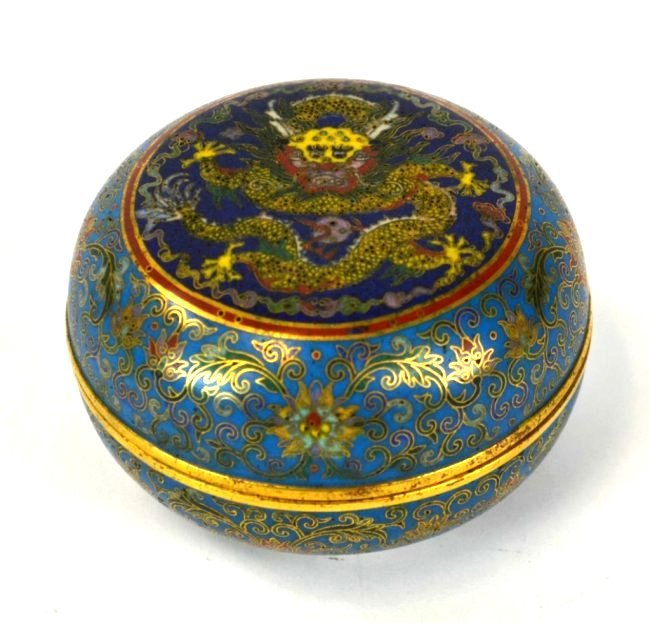 Chinese Cloisonne Round Covered Box