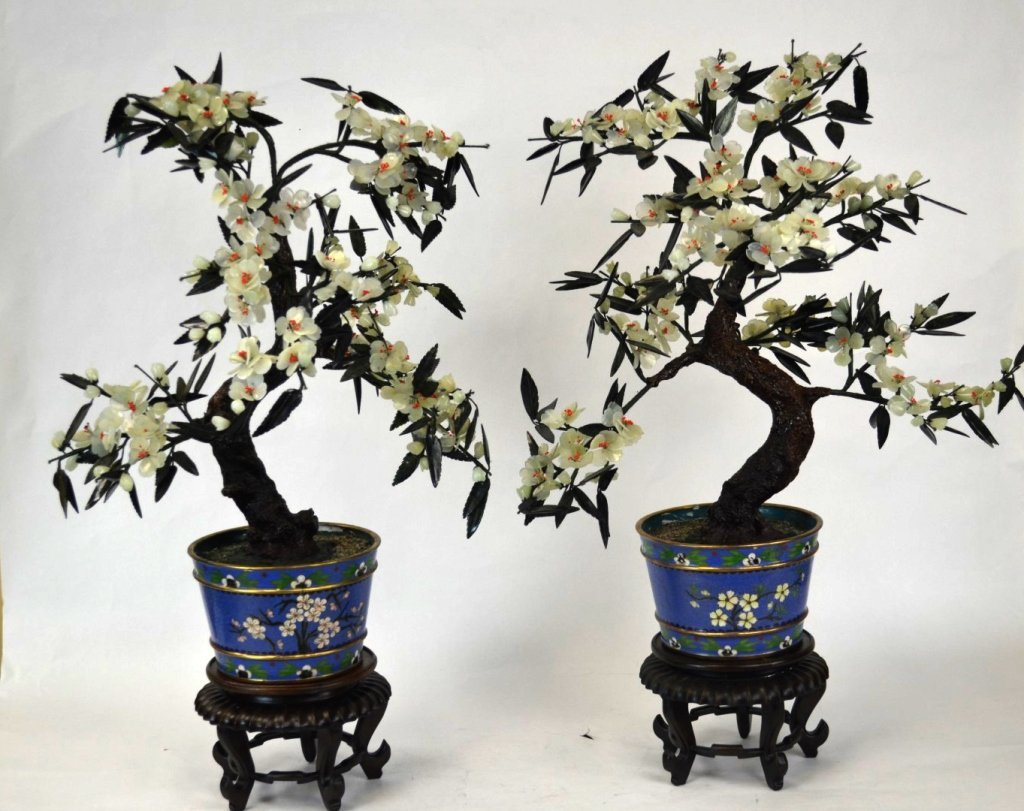 Pr Chinese Jade Tree w. Cloisonne Pot