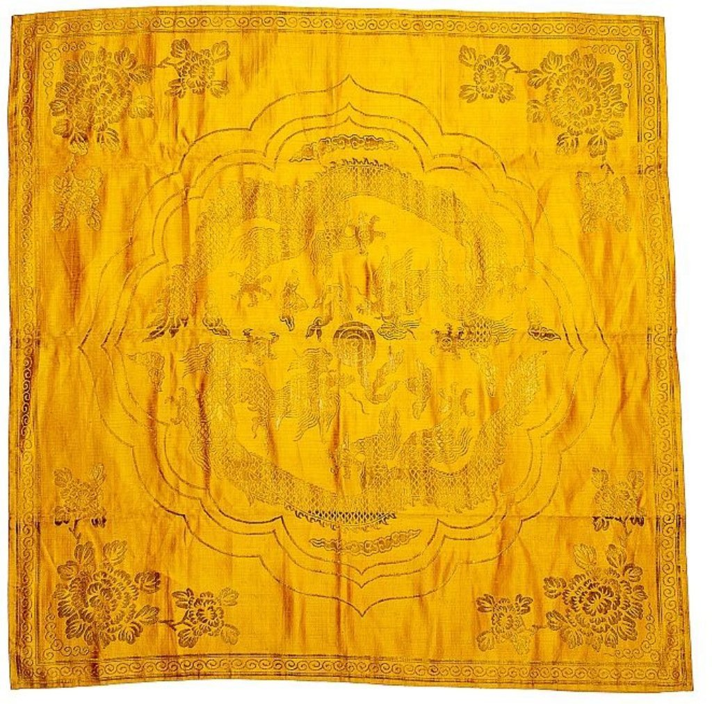 Qing.Chinese Yellow Dragon Silk Brocade Seat Cover