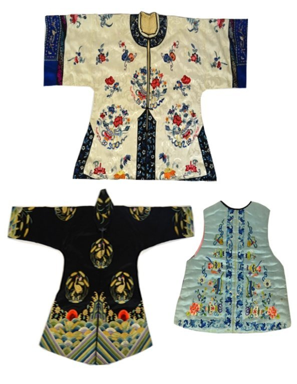Three Pieces of Chinese Silk Embroidery Robes