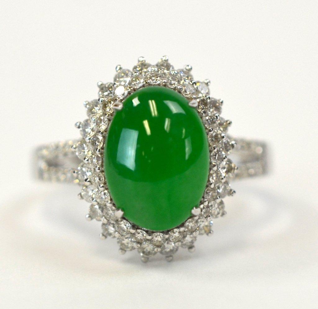 Chinese Green Jadeite, 18K Gold, & Diamond Ring