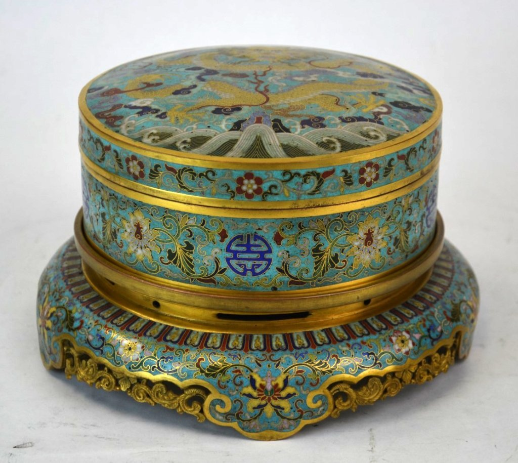 Chinese Cloisonne Covered Round Box