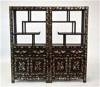 Pr Chinese 19th C Wood Cabinets w Mother of Pearl Inlay