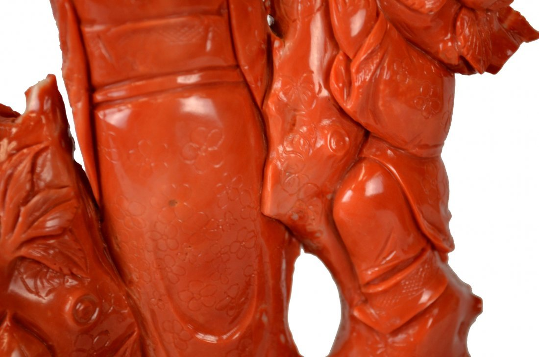 Fine & Large Chinese Carved Red Coral Statue - 9