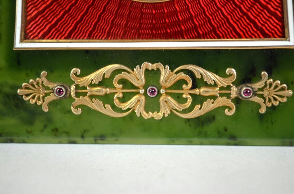 Russian Nephrite Jade Picture Frame w.Ruby & Pearl - 3