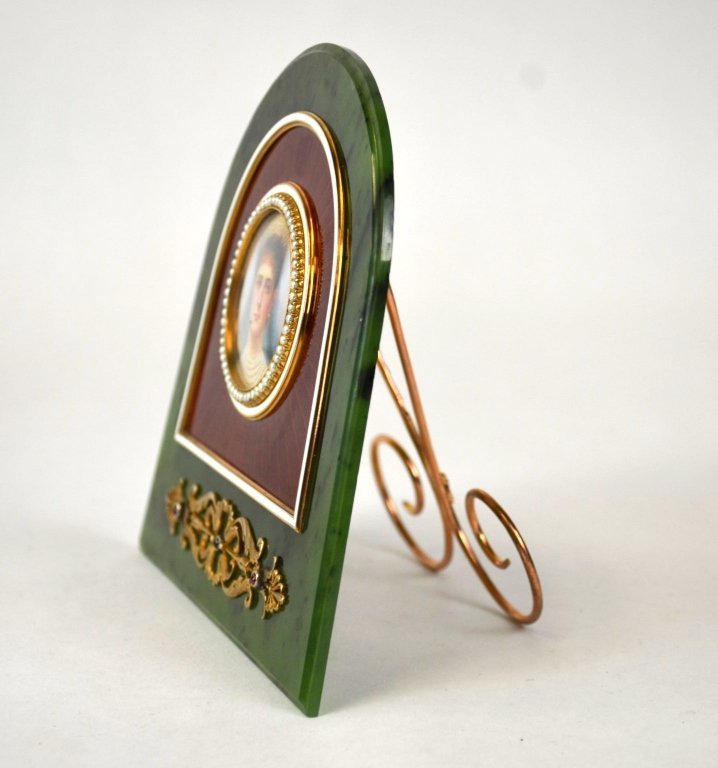Russian Nephrite Jade Picture Frame w.Ruby & Pearl - 4