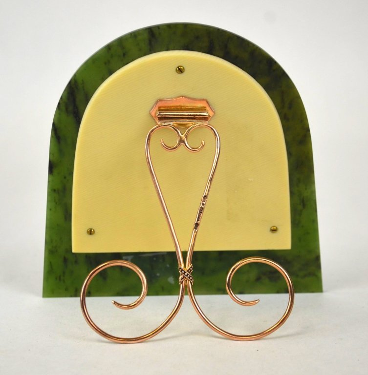 Russian Nephrite Jade Picture Frame w.Ruby & Pearl - 5