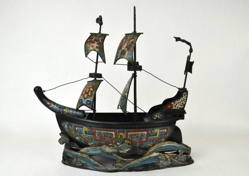 Large Chinese Enameled Cloisonne Ship Upon Waves