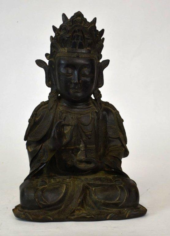 Chinese Bronze Buddha Statue or Figure