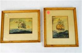 Two Antique Framed Art Prints of Ships