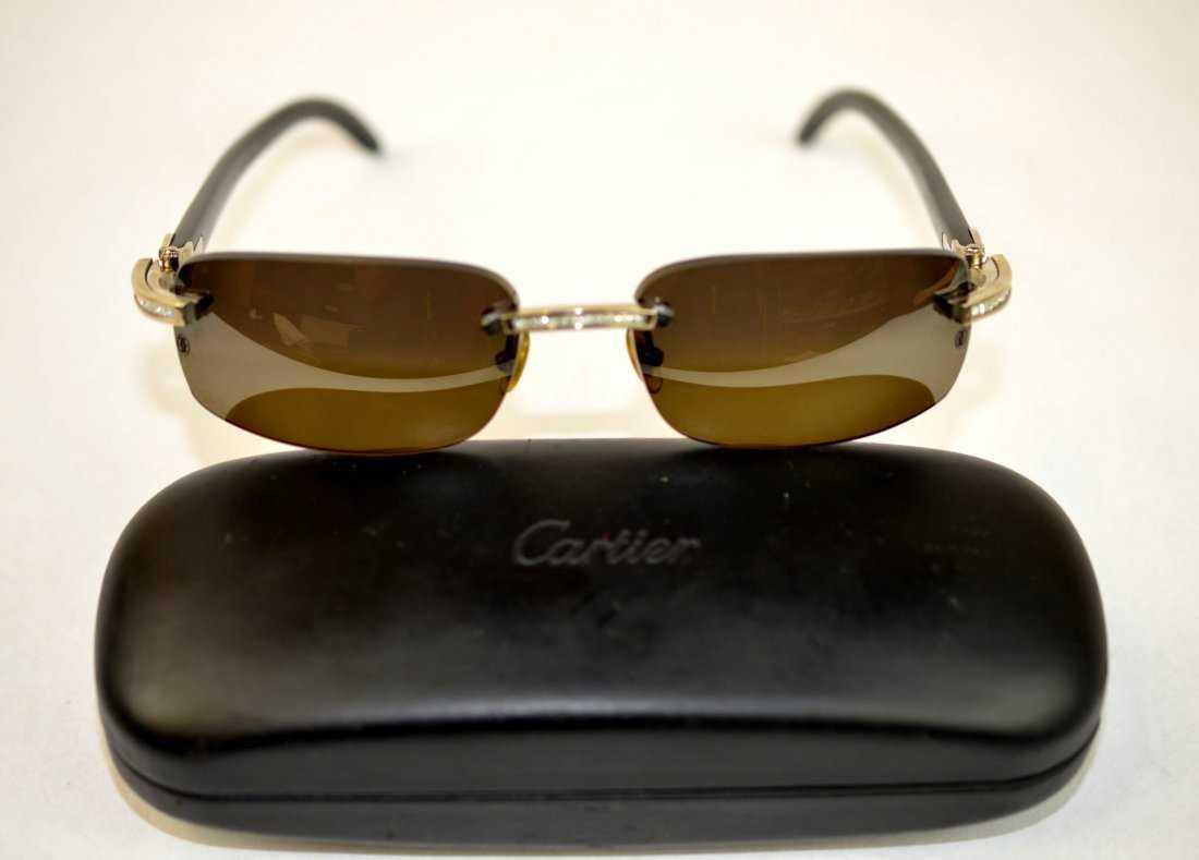 ba6820e755a Cartier Diamond   18K White Gold Mens Sunglasses