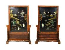 Pair Chinese Lacquer, Jade & Stone Floor Screens