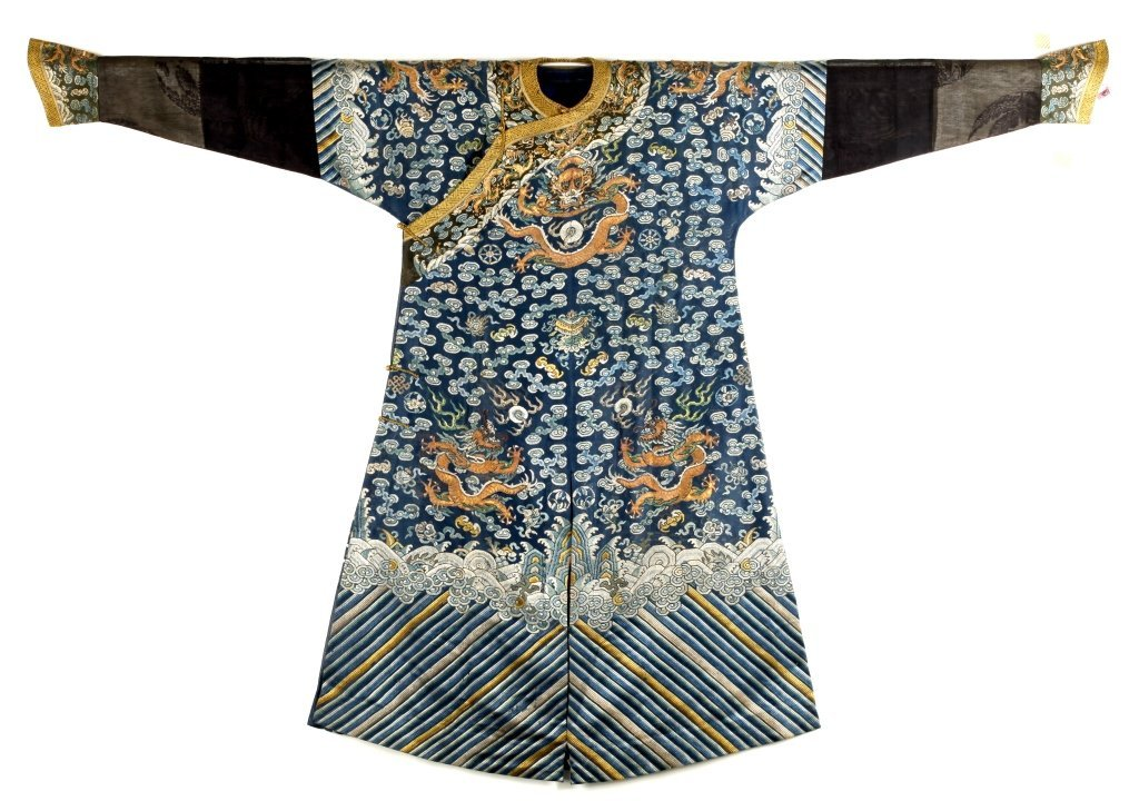 Chinese Imperial Dragon Embroidered Robe, Qing