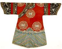 Qing Dynasty Chinese Red Ladies Embroidered Robe