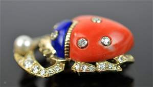18K Gold Bee Form Coral, Pearl & Diamonds Pin