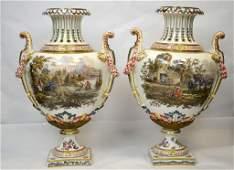 Pr Large Meissen Style Vases