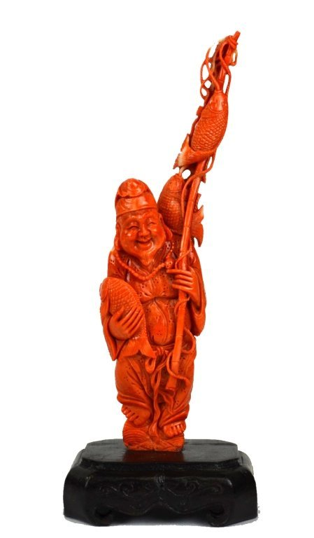 Chinese Carved Coral Fisherman Figure on Stand