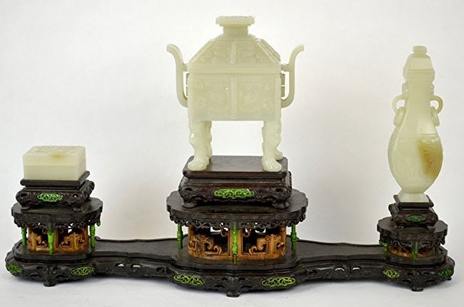 Chinese Carved Jade Boxes & Urn on Wooden Stand