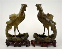 Pr Chinese Carved Jade Phoenix Birds w Wood Stands