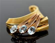 Cartier 14K Yellow Gold & Aquamarine Brooch