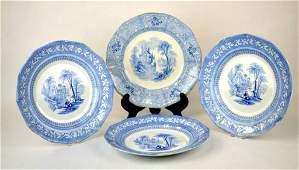4 English Plates Davenport Ironstone Transferware