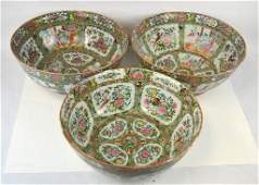 Three Large Chinese Rose Medallion Punch Bowls