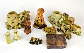 Group of Ten Chinese Carved Soapstone Pieces