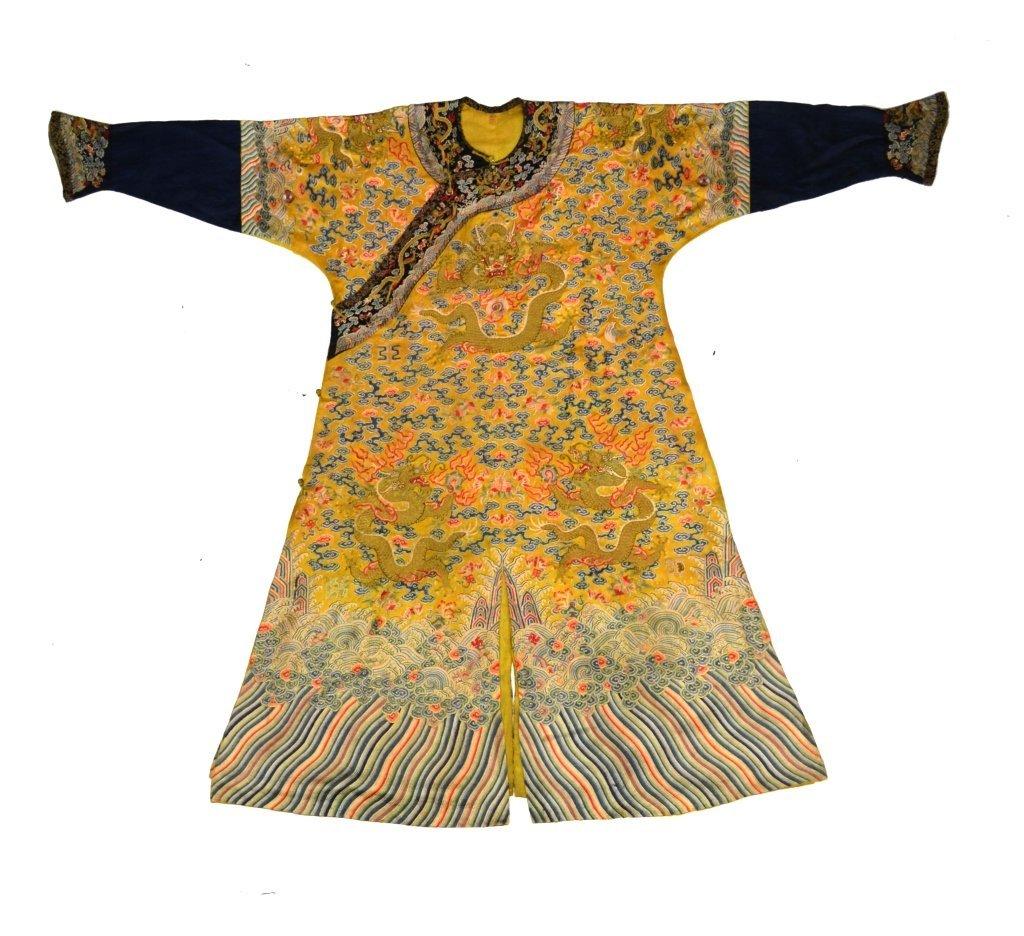 Important Imperial Yellow Kesi Dragon Robe