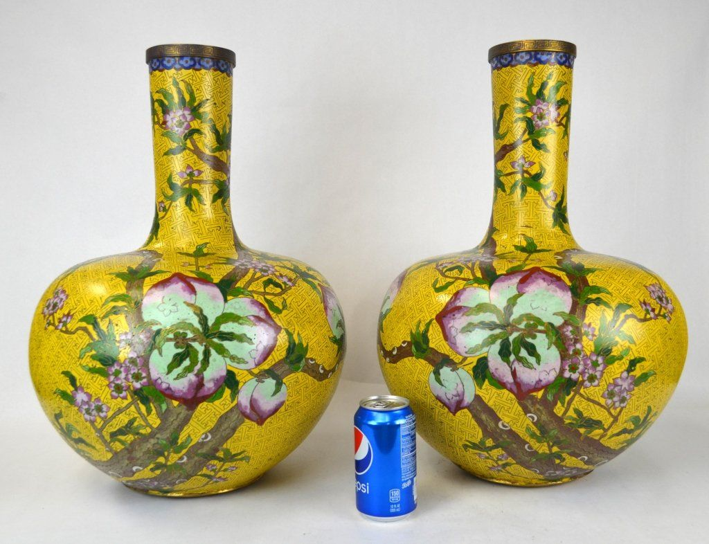 Pair of Large Chinese Cloisonne Bottle Vases