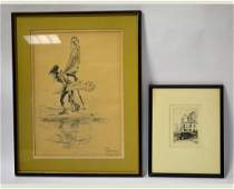 Two Framed Pcs Etching by George Plowman  Print