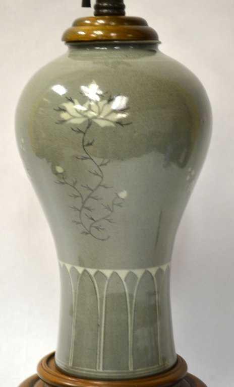 Korean Celadon Glazed Porcelain Vase Or Lamp Base
