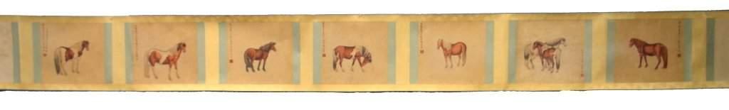 Chinese Watercolor Painting of Horses on Scroll